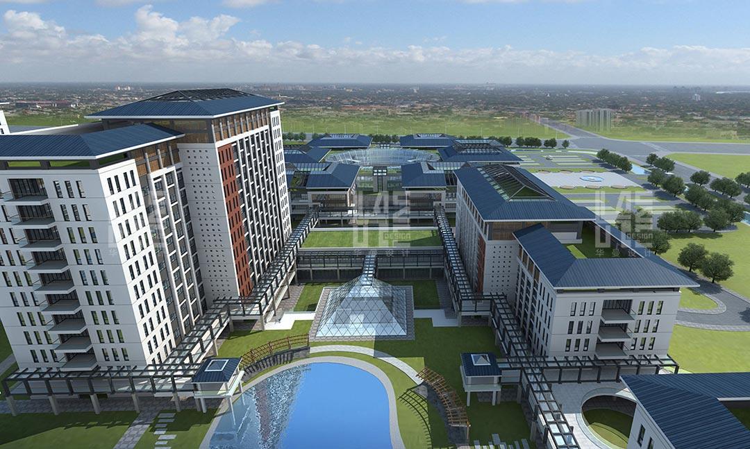 华佗中医院从总体布局,到建筑形体,外部庭院空间,立面比例以及窗户